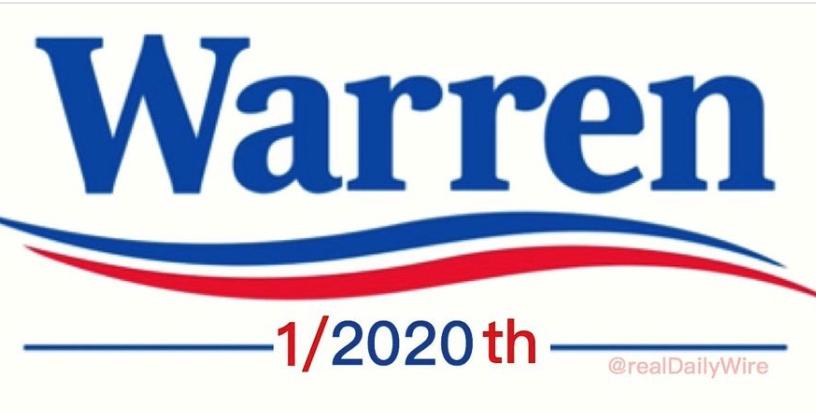 Trump Shares Mock Warren White House Slogan: '1/2020th'