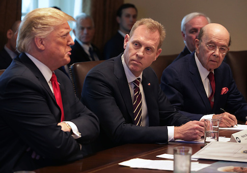 Donald Trump leads a meeting of his Cabinet, including acting Defense Secretary Patrick Shanahan and Commerce Secretary Wilbur Ross