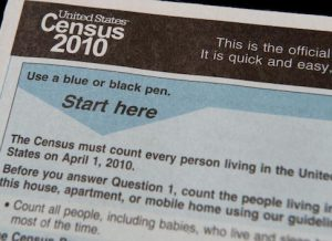 The official US Census form, pictured o