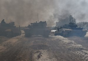 Ukrainian tanks take part in military exercises of reservists in the Army Training Center near the village of Desna, Chernigiv region