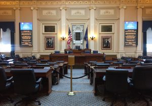 The House of Delegates chamber in the Virginia State Capitol in Richmond, Virginia