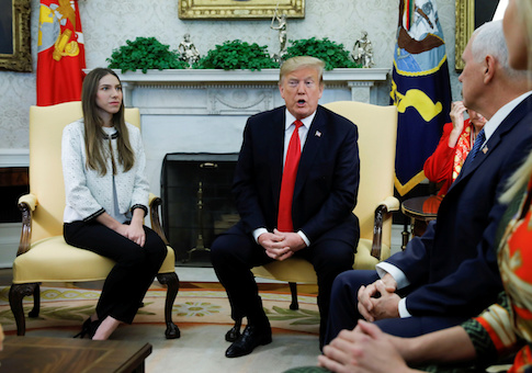 President Donald Trump and Vice President Mike Pence meet with Fabiana Rosales, wife of Venezuelan leader Juan Guaido