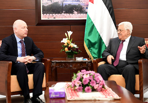 President's envoy to the Middle East Jason Greenblatt meeting with Palestinian leader Mahmoud Abbas in 2017
