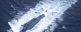 This undated picture shows a nuclear-powered submarine of the People's Liberation Army Navy's North Sea Fleet preparing to dive into the sea