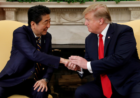 President Donald Trump meets with Japan's Prime Minister Shinzo Abe