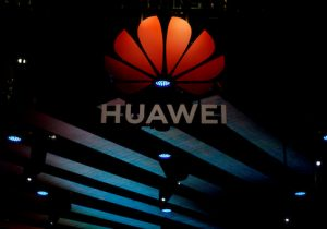FILE PHOTO: Huawei logo is pictured during the media day for the Shanghai auto show in Shanghai