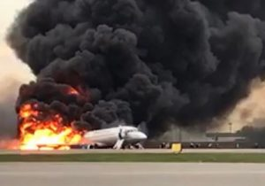 An Aeroflot Sukhoi Superjet-100 (SSJ100) passenger aircraft on fire after crash landing at Sheremetyevo Airport