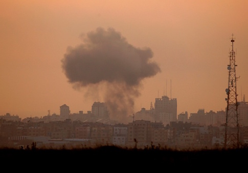 Smoke billows from a targeted neighbourhood in Gaza City during an Israeli airstrike on the Hamas-run Palestinian enclave