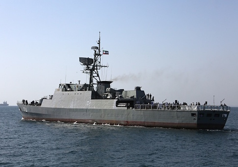 An Iranian navy warship in the Strait of Hormuz