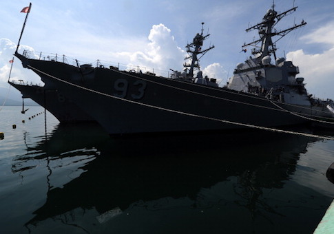 USS Chung-Hoon and another guided missile destroyer are docked near the disputed Spratly Islands