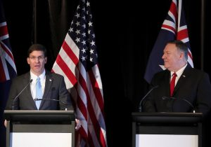U.S. Secretary of Defence Mark Esper speaks next to U.S. Secretary of State Mike Pompeo