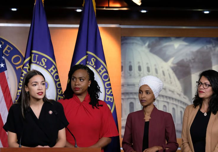 Congresswomen Ocasio-Cortez, Tlaib, Omar, And Pressley Hold News Conference After President Trump Attacks Them On Twitter