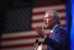 Democratic 2020 U.S. presidential candidate and New York Mayor Bill de Blasio