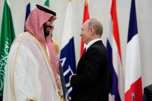 Saudi Arabia's Crown Prince Mohammed bin Salman and Russia's President Vladimir Putin