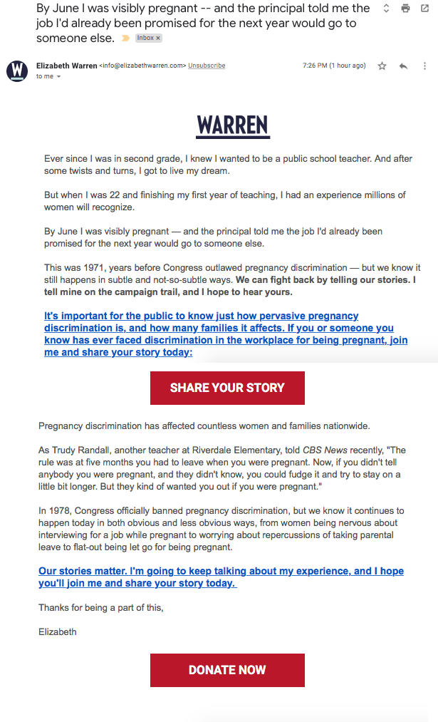 Warren campaign fundraising email / Free Beacon