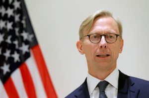 Brian Hook, U.S. Special Representative for Iran, speaks at a news conference in London