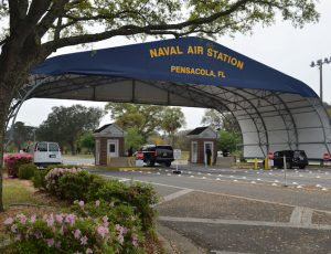 Main gate at Naval Air Station Pensacola is seen on Navy Boulevard in Pensacola