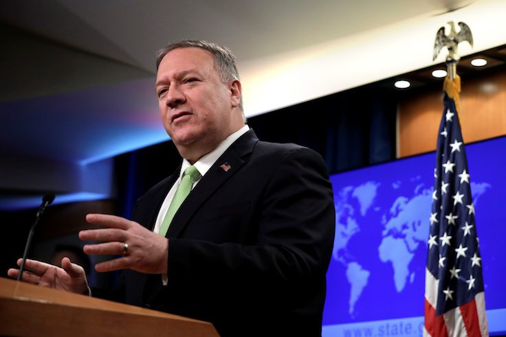 Secretary of State Pompeo makes a statement to the press in Washington