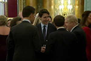 This grab made from a video shows Dutch Prime Minister Mark Rutte (L), French President Emmanuel Macron (front), British Prime Minister Boris Johnson (R) and Canada's Prime Minister Justin Trudeau (back-C) as the leaders of Britain, Canada, France and the Netherlands were caught on camera at a Buckingham Palace reception mocking US President Donald Trump's lengthy media appearances ahead of the NATO summit on December 3, 2019 in London. - US President Donald Trump cancelled on December 4, 2019 a planned final news conference scheduled for after the NATO summit, following two days of sharp disputes with allies. (Photo by - / NATO TV / AFP) (Photo by -/NATO TV/AFP via Getty Images)