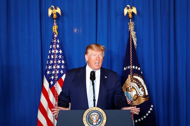 U.S. President Donald Trump delivers remarks following the U.S. Military airstrike against Iranian General Qassem Soleimani in Baghdad, Iraq, in West Palm Beach, Florida