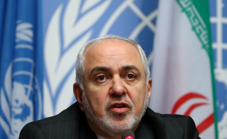 Iran's FM Mohammad Javad Zarif attends a news conference in Geneva