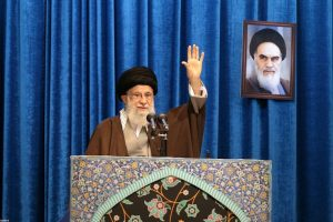 Iran's Supreme Leader Ayatollah Ali Khamenei gestures as he delivers Friday prayers sermon