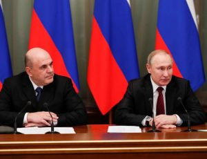 Russian President Vladimir Putin and Prime Minister Mikhail Mishustin hold a meeting with members of the new government in Moscow