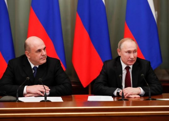 Russian President VladimirPutin and Prime Minister Mikhail Mishustin hold a meeting with members of the new government in Moscow