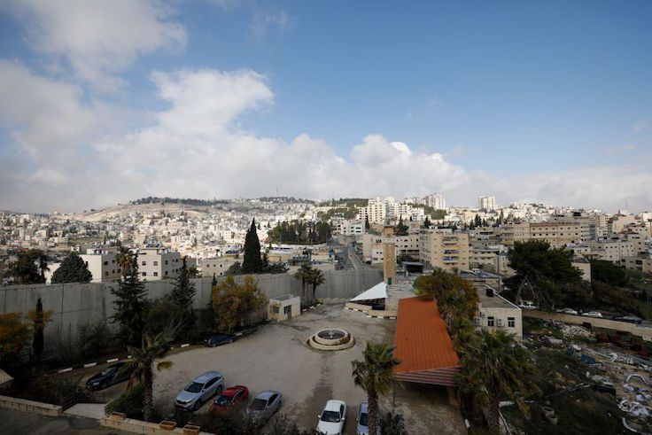 A view of the wall separating East Jerusalem from the Palestinian village of Abu Dis