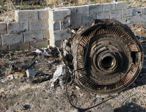 An engine lies on the ground after a Ukrainian plane carrying 176 passengers crashed near Imam Khomeini airport in the Iranian capital Tehran early in the morning on January 8, 2020
