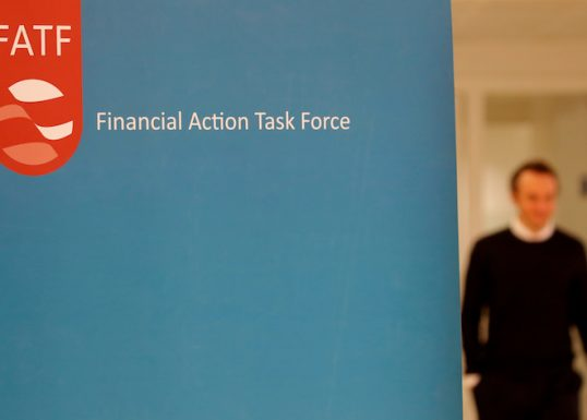 FILE PHOTO: The logo of the FATF (the Financial Action Task Force) is seen after a plenary session in Paris