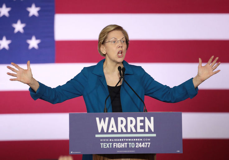 Warren Issues Broadside Against Mainstream Media as Campaign Falters