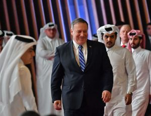Secretary of State Mike Pompeo arrives to the signing of a U.S.-Taliban agreement in the Qatari capital Doha