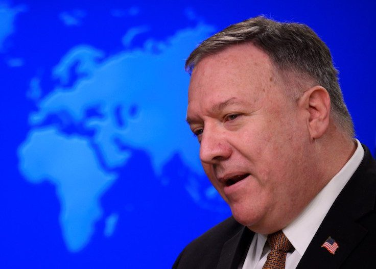 U.S. Secretary of State Mike Pompeo speaks during a news conference at the State Department in Washington