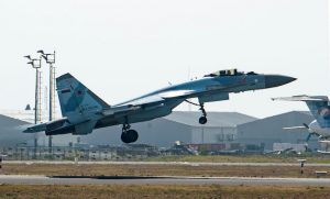 A Russian Sukhoi Su-35 fighter takes off during an air show