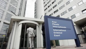 People enter the International Criminal