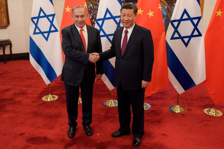 Chinese president Xi Jinping and Israeli prime minister Benjamin Netanyahu in 2017
