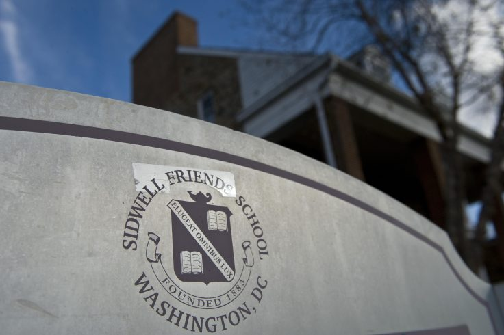 A sign is seen at the Washington Sidwell campus