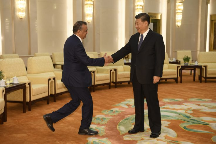 World Health Organization director general Tedros Adhanom shakes hands with Chinese president Xi Jinping