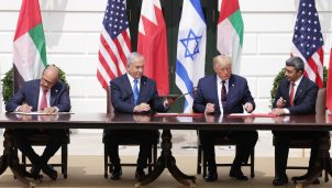 Foreign Affairs Minister of Bahrain Abdullatif bin Rashid Al Zayani, Prime Minister of Israel Benjamin Netanyahu, U.S. President Donald Trump, and Foreign Affairs Minister of the United Arab Emirates Abdullah bin Zayed bin Sultan Al Nahyan participate in the signing ceremony of the Abraham Accords