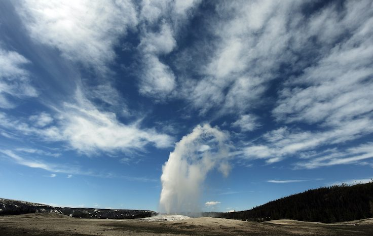 View of the 'Old Faithful' geyser which