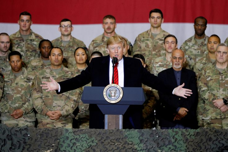 FILE PHOTO: U.S. President Donald Trump makes an unannounced visit to U.S. troops at Bagram Air Base in Afghanistan