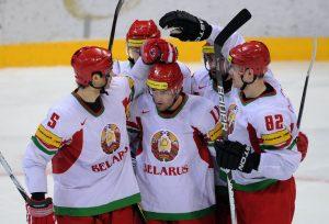 Belarus players celebrate their goal dur